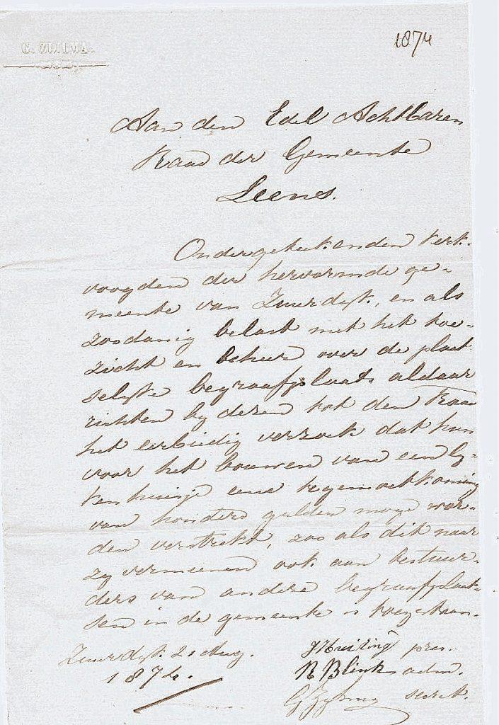 lijkhuisje 1874 08 21 brief lijkenhuisje