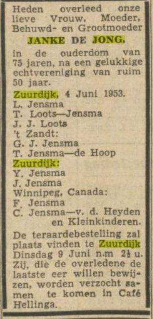 b121 jensma de jong janke over 1953
