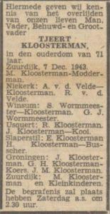 kloosterman tjeerd overl 1943