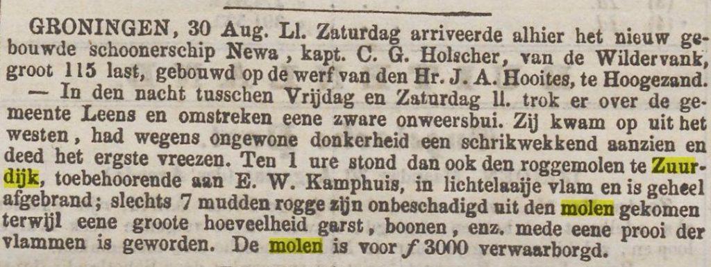 molen de zwaluw 1858 09 02 Algemeen Handelsblad molen zuurdijk brand
