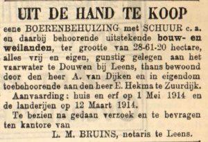 a073 1913 11 06 douwen hekma boerderij te koop