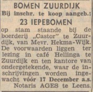 a074 1953 12 05 hekma-wijk bomen castor
