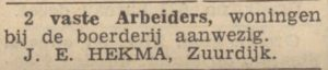 b071 b072 1939 11 04 j e hekma arbeiders gevraagd