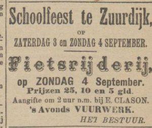 a058 a059 1898 08 31 clason zuurdijk schoolfeest fietsrijderij vuurwerk